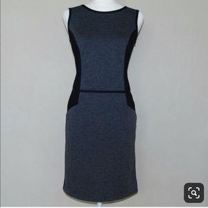 Grey & Black Sleeveless Sheath Dress